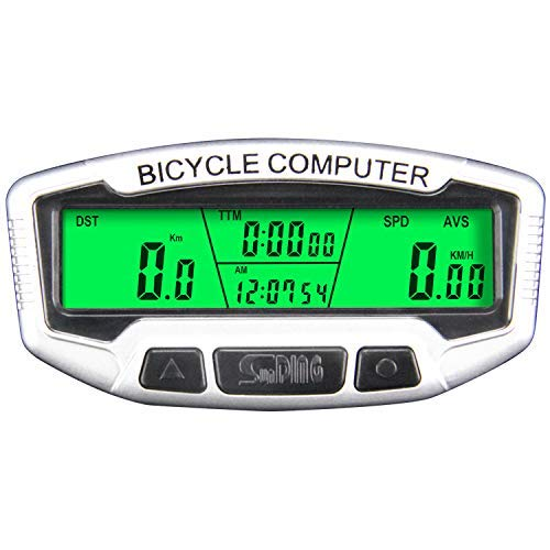 ARCELI Velocímetro de Bicicleta Computadora inalámbrica Ciclismo de Bicicleta LCD Impermeable Odómetro Cronómetro Digital Rate English Display SD-558C