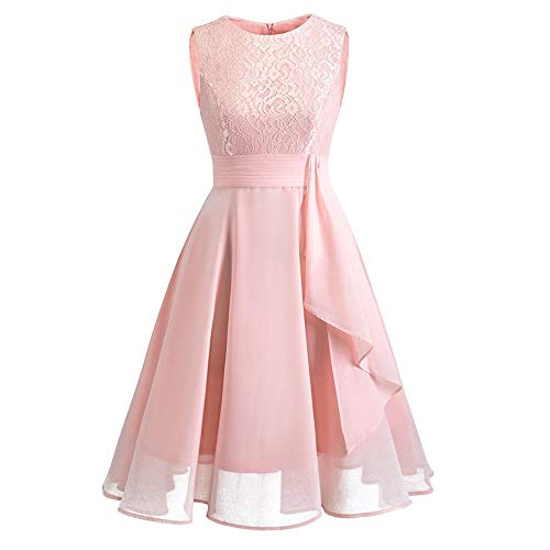Lazzboy Damen Kleid Sommer Elegant Kleider Spitzenkleid Knielang Festlich Hochzeit Partykleid Rockabilly Retro Cocktailkleid Sommerkleid Ärmellos Großes Pendel Lose Langes Dress(Rosa,L)