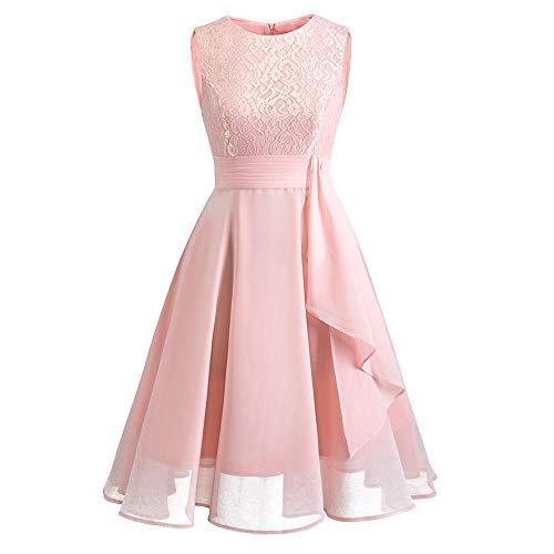 Kinlene Vestido Encaje Mujer - Vestido de Fiesta de Noche Casual Swing Dress Elegantes de Noche Vestido Encaje sin Mangas Floral de la Vendimia de Las Mujeres
