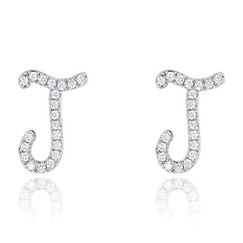 Initial Letter Earrings Shiny Small Dainty Statement Stud Earrings Personalized Earrings for Girls Women Silver J