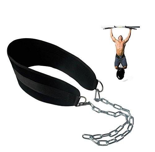 HemeraPhit Pull-up cinturón con Peso Dip cinturón con Cadena Doble D-Ring Levantamiento de Pesas Espalda Apoyo Correa Gimnasio en casa Equipo Cintura cinturón ⭐