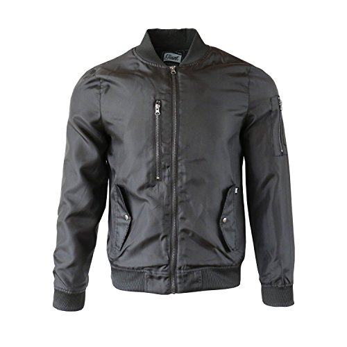 Beautiful Giant Men's Heavy Weight Outfit Quilted Bomber Jacket with Side Pockets(L,Black)