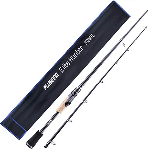 PLUSINNO Elite Hunter Two-Piece Spining Casting Fishing Rod, Graphite Medium Light Fast Action Bass Baitcasting Fishing Rods 7FT 2pc Freshwater Saltwater Fishing Rods-A