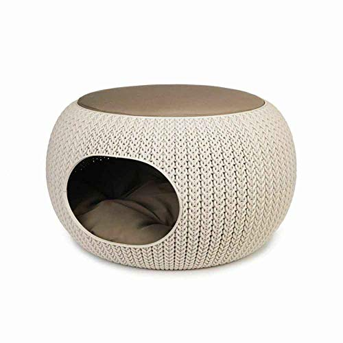 Curver Cozy Cuccia per Gatti e Cani, Cestino Crema/Marrone Chiaro(Cuscino Sandy), 57.7 x 56.5 x 33 cm