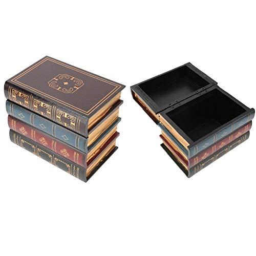 Hztyyier Weinlese Aufbewahrungsbox dekorative gefälschte Buch-Aufbewahrungsbox Innenministerium Regal Dekoration,7.9 * 6.3 Inch(#2)