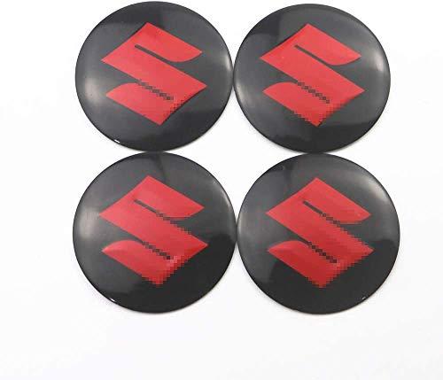 MISSLYY 4 Piezas Coche Tapas Centrales de Llantas para Suzuki jimny Swift Vitara SX4,con el Logotipo De Insignia Rueda Tapas De Centro Prueba De Polvo Accesorios De Decorativo De Automóvil,56mm