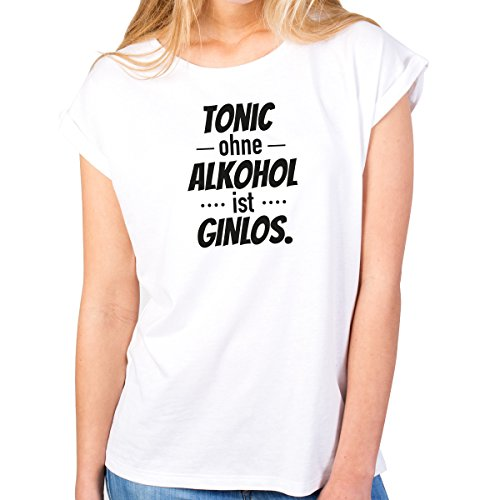 JUNIWORDS Damen T-Shirt -Tonic ohne Alkohol ist Ginlos. - große Auswahl an Motiven - Größe: L - Farbe: Weiß