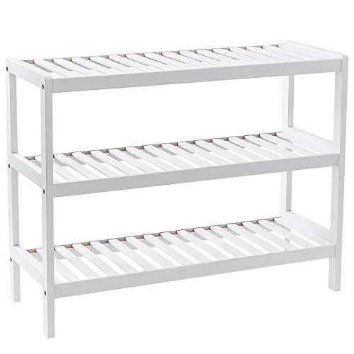 Grandma Shark Bamboo Shoes Rack, Plant Rack, Shelf Organize for up to 12 pairs Shoes (White 3 Tier)