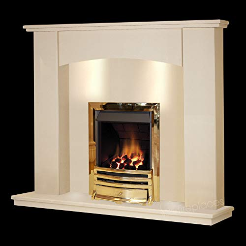 Cream Stone Marble Curved Modern Wall Surround Gas Fireplace Suite Brass Inset Gas Fire with Spotlights