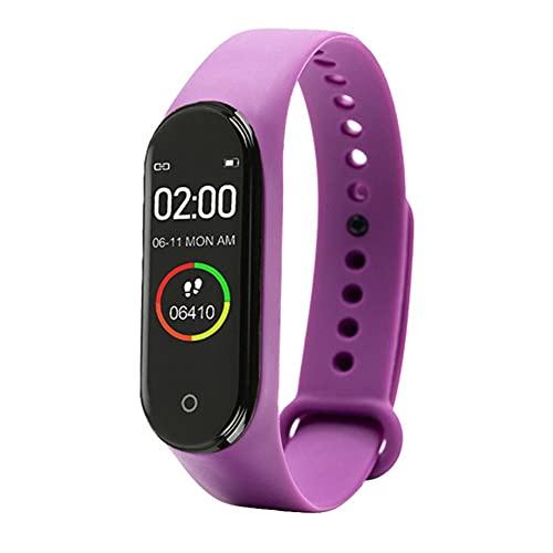 Reloj inteligente, rastreador de actividad física con oxígeno en sangre, presión arterial, monitor de frecuencia cardíaca, reloj inteligente para hombres y mujeres para Android iOS (color: púrpura)
