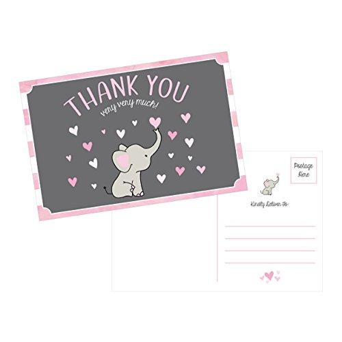 50 4x6 Elephant Girl Baby Shower Thank You Postcards Bulk, Beautiful Pink Modern Cute Boho Blank Thanks Note Card Stationery Appreciation Set