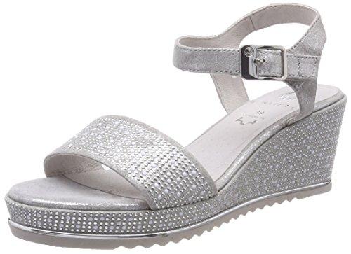 Be Natural Damen 28341 Slingback sandalen, grau (grey/silver), 39 EU