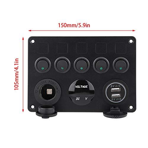 Ahorro de espacio Panel de interruptores de palanca de uso duradero a prueba de polvo, Panel de interruptores de encendido/apagado de larga vida útil, Motocicletas(Green light)