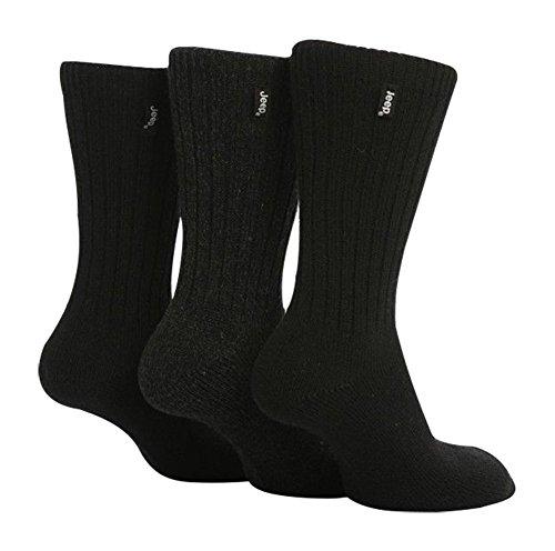 Jeep - 3 pares calcetines lana hombre senderismo caminar en negro y marrón (Negro)