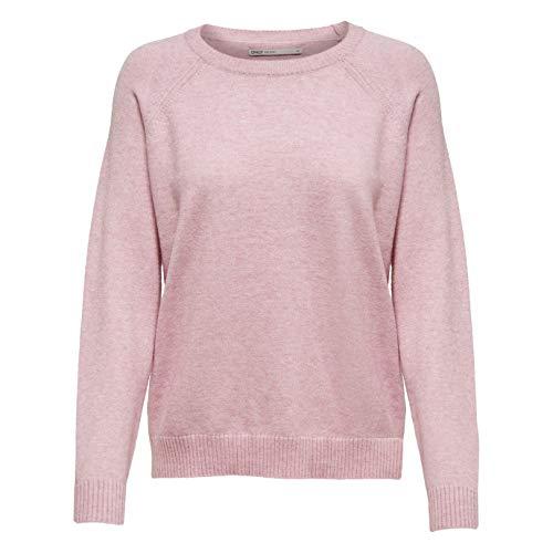 ONLY Damen Onllesly Kings L/S Knt Noos Pullover, Rosa (Light Pink Detail: W. Melange), XS EU