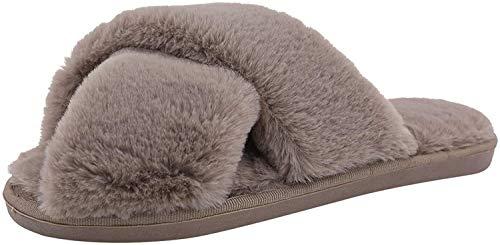 AONEGOLD Hausschuhe Damen Winter Warm Plüsche Pantoffeln rutschfeste Flache Flip Flop Slippers Indoor/Outdoor(Khaki,38/39 EU)