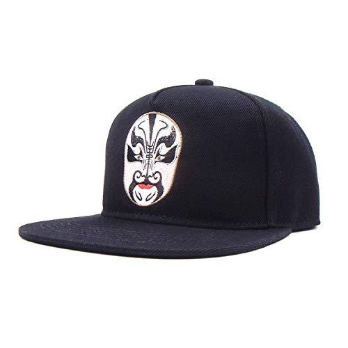 WAZHX Sombrero De Hip Hop Plano De Facebook Bordado Nacional De La Ópera De Pekín Sombrero De Marea De Baile Callejero Gorra De Béisbol Personalizada Negro
