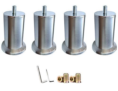 CXPDC 4 STÜCKE Möbelfüße Metall Edelstahl, Geeignet Für Bett Beine/Sofa Beine/Tisch Beine/Möbelfüße Verstellbare Beine, M10 Schrauben Unterstützen Mehr als 600 kg 12.5CM