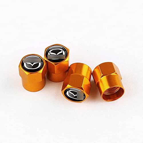 4 Piezas Tapas de válvula de coche de aleación de aluminio para Maz-da, Tapones VáLvula Rueda Inoxidable Resistente Agua Antipolvo Accesorios, Accesorios de decoración de coches