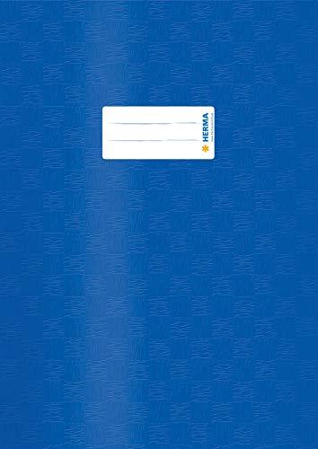 HERMA 7443 Heftumschlag DIN A4 gedeckt mit Baststruktur und Beschriftungsetikett, aus strapazierfähiger und abwischbarer Polypropylen-Folie, 1 Heftschoner für Schulhefte, blau