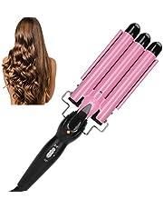 Locktång med 3 cylindrar, rosa elektrisk snabbuppvärmning trippelcylindrig lock/vågtång, justerbar locktång, hårstylingverktyg för frisörsalonger och hushåll