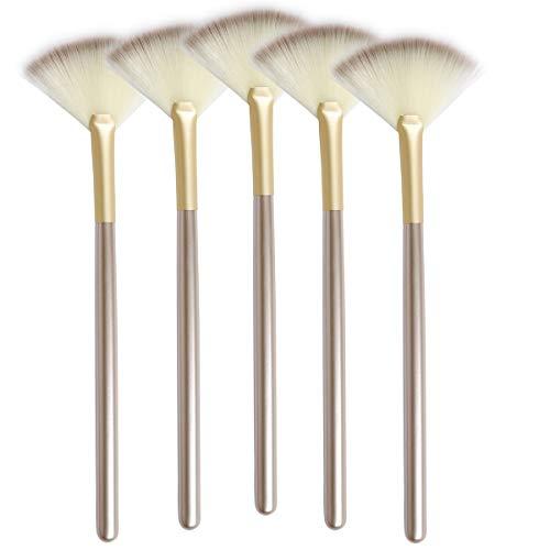 Cepillo facial fino y suave con forma de abanico para maquillaje, multiusos, aplicador de ácido para mascarillas de glicol (5 unidades)