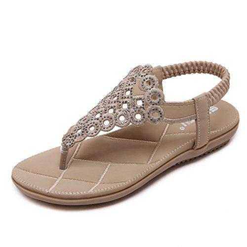 CARETOO Damen Sommer Bohemian Flachen Sandalen Tanga T-Strap Blume Slip auf Flip Flops Schuhe, Aprikose - 41