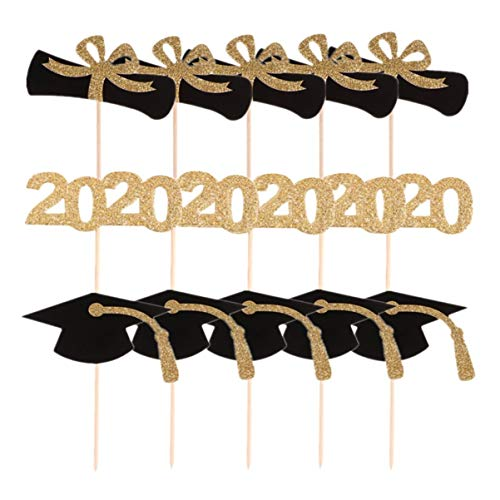 Amosfun 30pcs Graduation Party Cake Toppers 2020 Aantal Bachelor Cap Cupcake Toppers Graduation Certificaat Kaart Toppers Dessert Cupcake Picks Decoraties