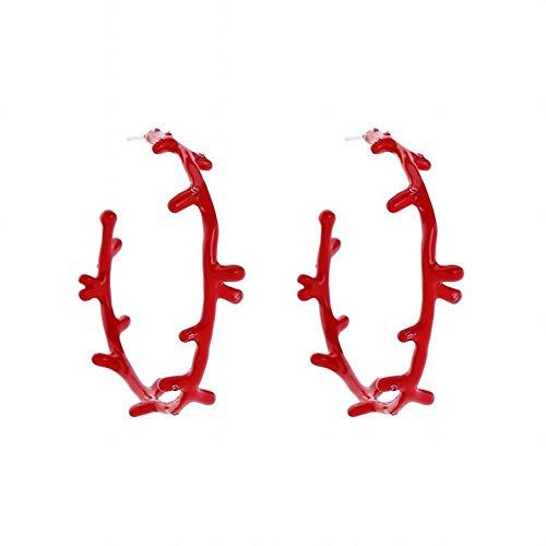 ZRDMN Pendientes de botón Joyería Dangler para mujeres, personalidad exagerada 珐 琅 Pendientes de botón de coral esmaltado Pendientes salvajes Estilo europeo y americano