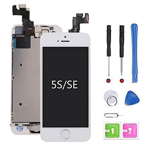 Ecran iPhone 5s/SE Blanc LCD Vitre Préassemblés Tactile Complet sur Châssis avec Outils de Réparation Bouton Home Caméra Frontale Capteur de Proximité Haut-Parleur et Ecran Protecteur Kit d'outils