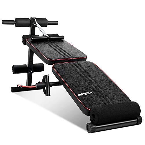 ONETWOFIT Banco Abdominales, Bancos de pesas de utilidad para entrenamiento de cuerpo completo con 2 cuerdas elásticas, press de banca inclinado / declinado plegable para gimnasio en casa OT184