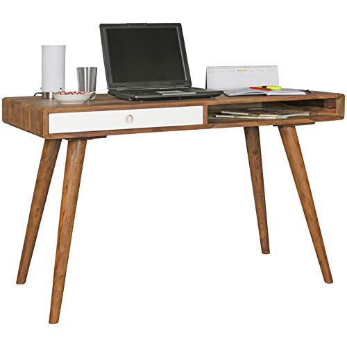 FineBuy Schreibtisch weiß 120 x 60 x 75 cm Massiv Holz Laptoptisch Sheesham Natur | Landhaus-Stil Arbeitstisch mit 1 Schublade | Bürotisch PC-Tisch