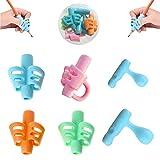 Guide Doigt Enfant, Lot de 6 guide-doigts au design ergonomique - aide à l'écriture,Pour Enfants Adultes Besoins Spéciaux Droitiers et Gauchers (Poignée à deux doigts)