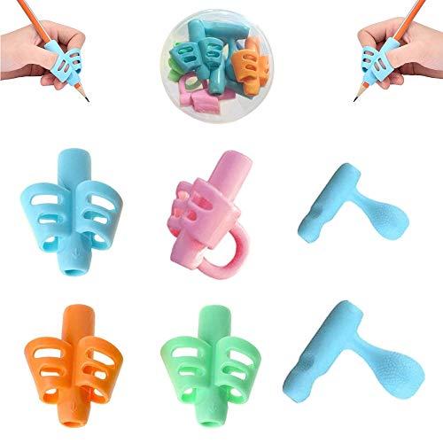 Agarres para Lápices, 6 Pcs Corrector de escritura para niños, Pencil grip para corregir la postura y el agarre del lápiz. Soporte y agarrador ergonómico para,Apto para mano izquierda y derecha