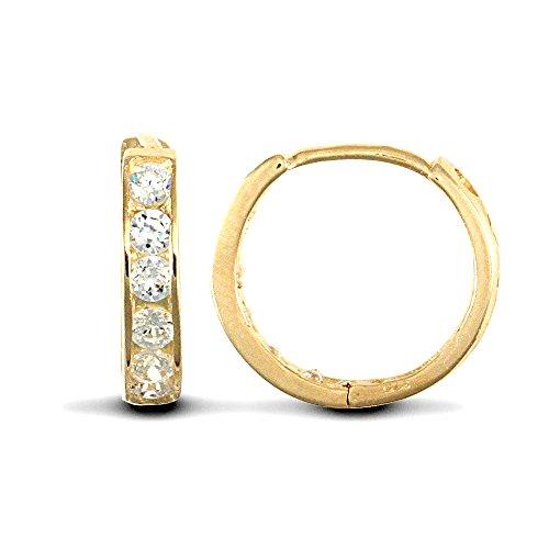 Jewelco London Ladies Solid 9ct Yellow Gold White Round Brilliant Cubic Zirconia Eternity 2mm Huggie Hoop Earrings 11mm