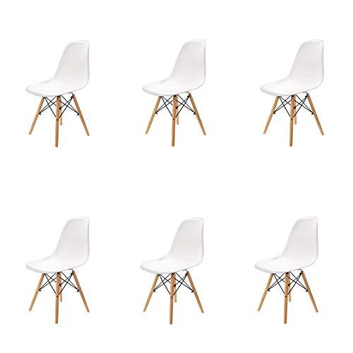 GrandCA HOME Set von 4/6 Stuhl,Esszimmerstühle,Wohnzimmerstuhl, Bürostuhl (Weiß-6)