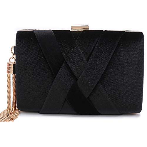 Evening Clutches Bag Velvet Purse Women Handbag Bridal Purse Party Bags for Prom Cocktail (Black)