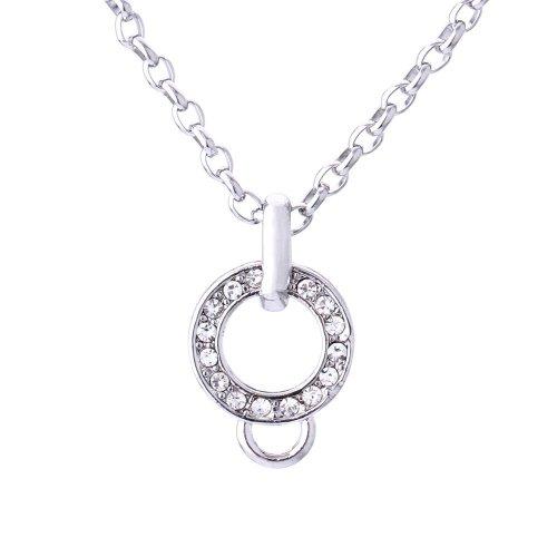 Morella Edelstahl Charms Halskette 70 cm mit weißen Zirkoniasteinen in Samtbeutel