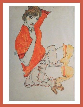 Germanposters Egon Schiele Wally in roter Bluse Poster Kunstdruck Bild im Holz Rahmen in Orange 84,8x64,8cm