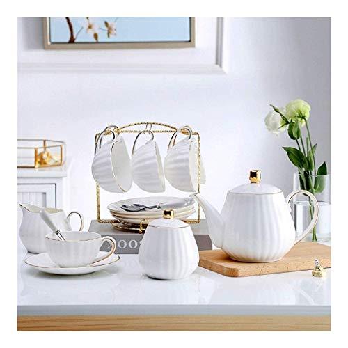 Taza y platillo Conjunto de café de cerámica Juego de tazas, de 6 onzas (aproximadamente 180 ml) y 6 platillos, 6 cucharadas, Cafetera, jarra de leche, azúcar Bowl, Café Stand, adecuado for el café, l