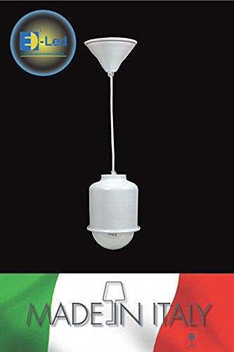 E-lED lampe suspension e27 lED modèle Ibiza en aluminium verni noire complète de Kodak LED Lighting intensité variable Made en Italy 10 WATT noir
