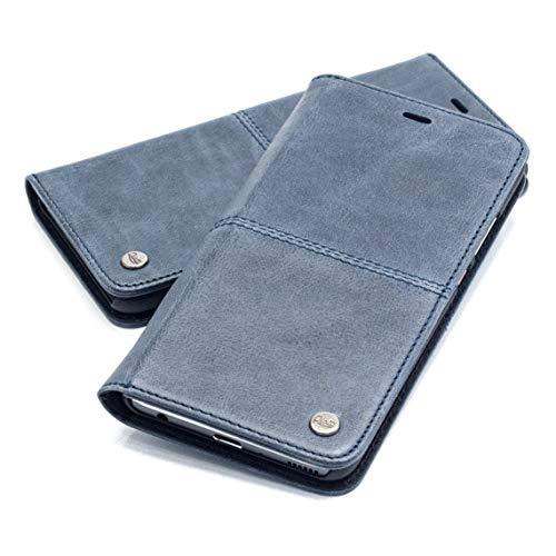 QIOTTI Hülle Kompatibel mit Huawei P30 Pro Ledertasche aus Hochwertigem Leder RFID NFC Schutz mit Kartenfach Standfunktion in Blau