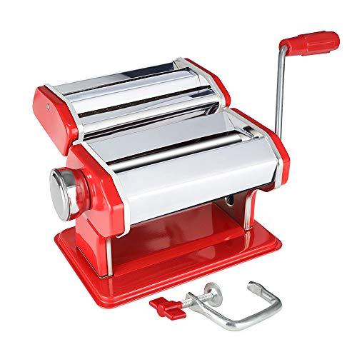 Novhome Máquina para Hacer Pasta manuale Fresca Máquina de Cortador de Acero Inoxidable para Espagueti, Tagliatelle, Fettuccine y Lasaña (Rojo, 21 x 15 x 19,5 cm)