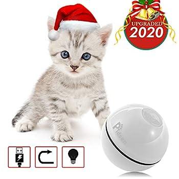 Pidsen Jouets Roulement de Chat Balles à Rouler Automatique Rechargeable avec lumière LED Jouer Balles d'exercice pour Chaton Blanc