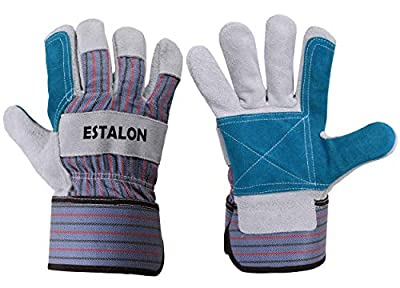 Estalon Tough Cowhide Leather Industrial Work Gloves for Men & Women, Performance Gloves for Gardening, Construction & Driving, Sizes Small to X Large