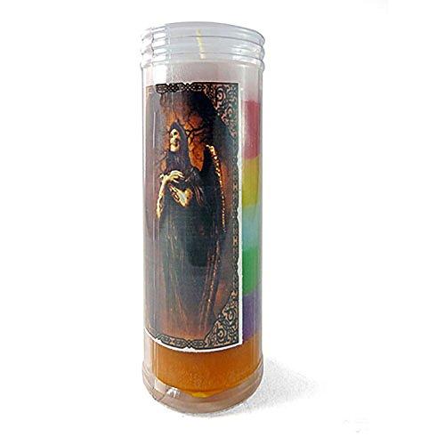 Velón esotérico Santa Muerte 7 Poderes- Tamaño 14 x 5,5 cm- Vela para Dinero de urgencia y con propósito Especial