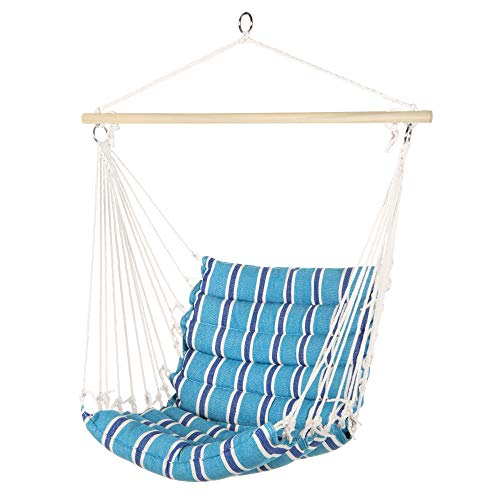 Best Choice Products Indoor Outdoor Padded Hanging Cotton Hammock Chair w/ 40in Wooden Spreader Bar - Blue
