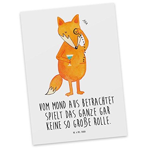 Mr. & Mrs. Panda Karte, Einladung, Postkarte Fuchs Lord mit Spruch - Farbe Weiß
