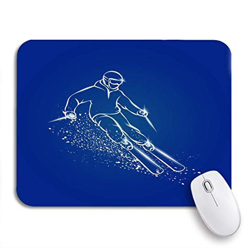 Gaming mouse pad skifahrer auf berghang schneespray-effekt weißer ski rutschfester gummi-träger computer mousepad für notebooks mausmatten