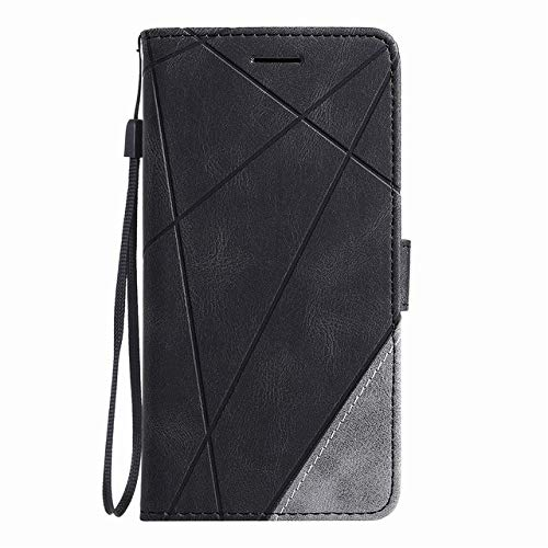 Stand Business Phone Holster para Redmi 7 7A 8 8A Note 8T 9 Pro K30 K20 10X Mi Poco X3 Stripe Wallet Rhombus Case Cover, Negro, para Redmi Note 9